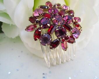 Red Bridal Hair Comb,Pink Crystal Hair Comb, Ruby Red Bridal Hair Accessories, Crystal Hair Comb,Pink Wedding Hair, Red Wedding Hair