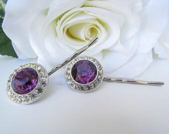Purple Bridal Hair Comb, Purple Bridal Hair Pins, Purple Bridal Jewelry, Crystal Hair Pins, Purple Bridal Hair Accessories, Purple Wedding