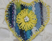 Heart  Brooch - embroidered and felted yellow daisy on blue