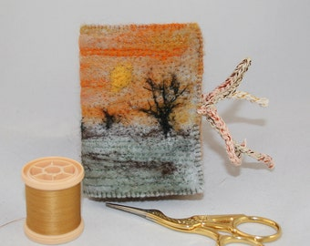 Embroidered Felted and Recycled Needle Book - Sunset