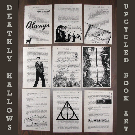Harry Potter and the Deathly Hallows - Upcycled book page art prints - Great for framing - Harry Potter graphic art
