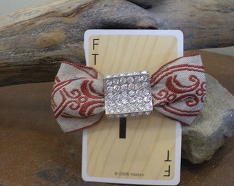 Set of 2 Vintage Ribbon and Bling Barrettes