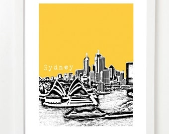 Sydney Australia Art - Sydney Skyline Poster - Opera House - VERSION 2