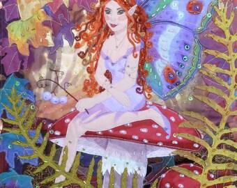 Digital print Amanita Fairy mounted