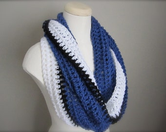 Crochet Blue, Black, and White NHL, Toronto Maple Leafs, Indianapolis Hockey, Football, Infinity Scarf, Men's Scarf, Unisex Scarf