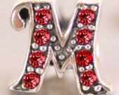 """Sterling Silver and Red Crystal Initial """"M"""" Large Hole Bead fits European Style Charm Bracelets and Necklaces"""