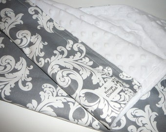 Gray and White Damask Minky Baby Blanket