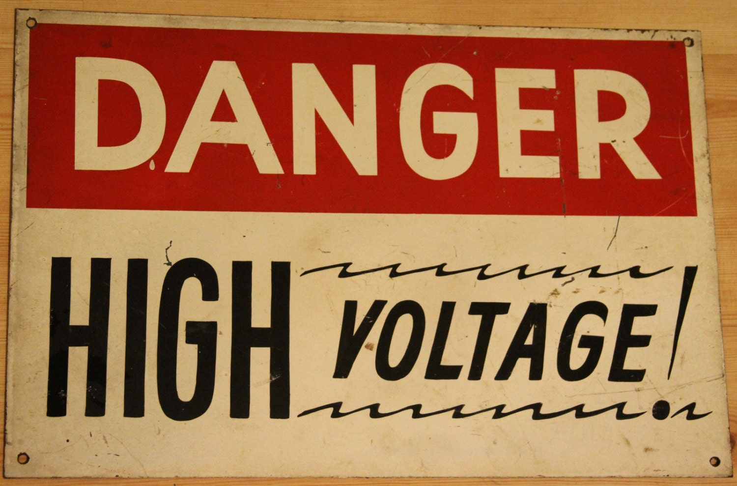 Vintage hand painted DANGER HIGH VOLTAGE sign 18 x