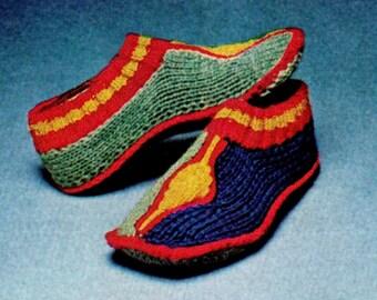 "Vintage 70's Knitting ""Turkish"" Slippers - PDF Pattern - Cozy Socks - INSTANT DOWNLOAD"