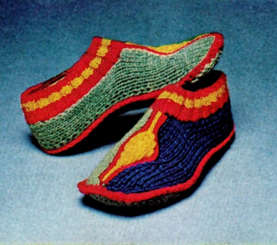 Knitting Pattern For Turkish Slippers : Vintage 70s Knitting Turkish Slippers PDF