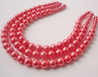 Coral Pink Necklace, Bright Pink Necklace, Chunky Pearl Necklace, Multi-strand Pearl Necklace, Pearl Statement Necklace