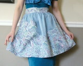 Vintage- 50s Butterfly Print Blue Hostess Apron with Flower Shaped Pocket
