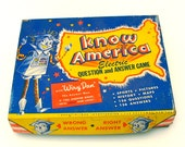 """Vintage 1950s """"Wiry Dan"""" The Answer Man / Know America Electric Question and Answer Game by Harett-Gilmar"""
