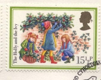 1982 Vintage Christmas Carols Royal Mail Postage Stamps Collectable Envelope, England / United Kingdom / British