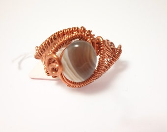 wire wrapped copper agate ring