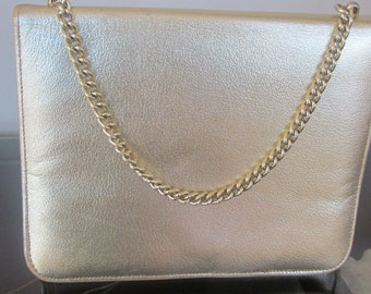 1960s  gold  leather clutch purse Marshall Fields