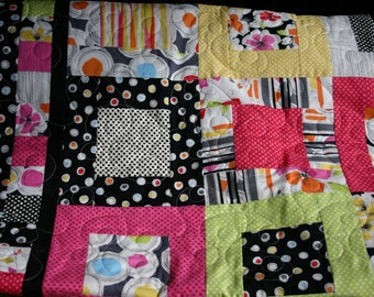 Modern Florals Patchwork Lap Quilt in Bright Pinks, Yellows, Lime Greens, Oranges