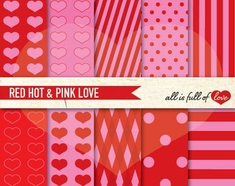 Valentines Patterns Digital Scrapbook Paper PINK RED Heart Backgrounds valentines card DIY Valentines Digital Paper red pink heart
