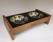 Cat Feeder with Fish Bone Carving Solid Oak Handmade