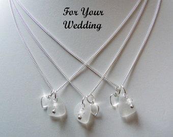 Beach Wedding Sea Glass Bridesmaid Wedding Necklace Beach Glass Sea Glass Jewelry Seaglass Bridal Jewelry