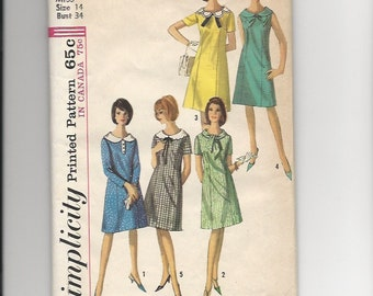Vintage Sewing Pattern Simplicity 5924 for Dress, Sz 14, 1960s