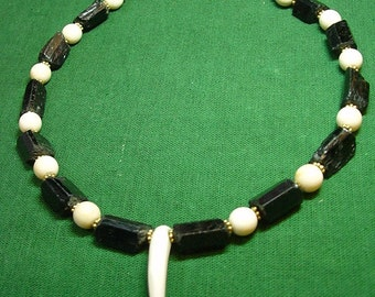 Bold Fang necklace for men or women, of natural Black Tourmaline crystals, carved bone fang, round bone beads, vermeil (#835)