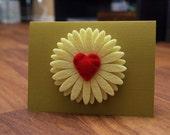Note Card Heart Daisy
