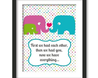 first we had each other, Nursery decor, elephant family, polka dots, anniversary art, baby shower decor, first we had art, kids art