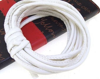 Smooth Leather Cord 4mm -- 3 Yards( 9ft ) -- Luster White Leather