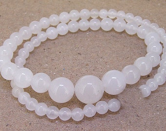"""Full Strand Round White Jade Beads ----- 6mm-20mm ----- about 60Pieces ----- gemstone beads--- 15"""" in length"""