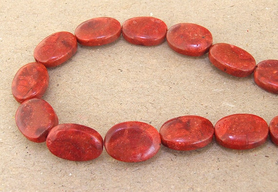 Oval Red Sponge Coral Beads 13mmx 18mm Red Coral
