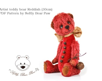 Artist Teddy Bear Pattern by SoftlyBearPaw Reddish 30cm ePattern PDF