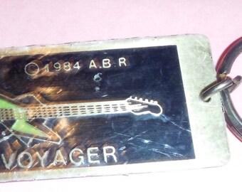 Sale! Vintage 1984 Voyager Guitar Metal Key Chain Key Fob Never Used