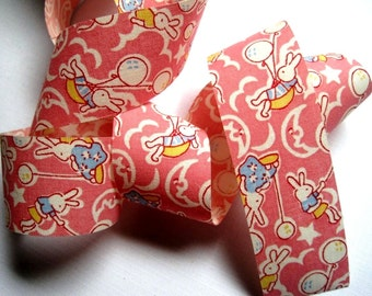 "Bunny Balloons Cotton Ribbon Trim, Pink, 1 3/8"" inch wide, 1 yard, For Children Crafts, Gifts, Party, Home Decor, Scrapbook, Mixed Media"