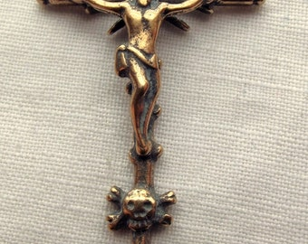 Bronze Crucifix, Skull & Crossbones, Europe, 18C - 2 3/8""
