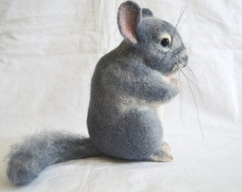 Chinchilla....Felt toy, portrait similarity of your pet.... I will make this item for your order
