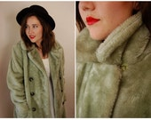 VTG 70s 80s Green Turquoise Double Breasted Fur Coat XS S M