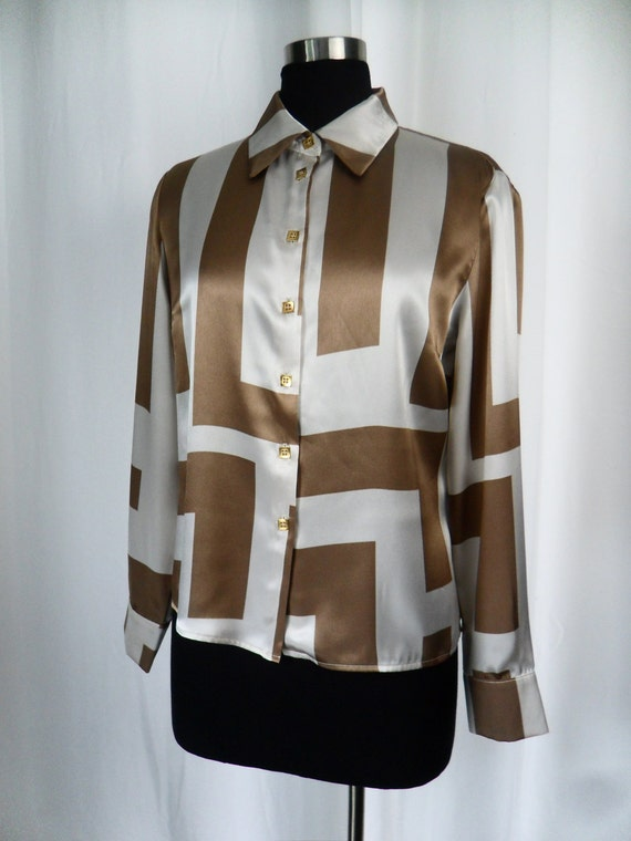 80s vintage architectural colour block geometric satin blouse in ivory and taupe: US 8-10 (medium)