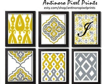 Digital Wall Art Ikat Mustard Yellow Grey White Wall Art Vintage / Modern Inspired -Set of (6) - 5x7 Prints -  (UNFRAMED)