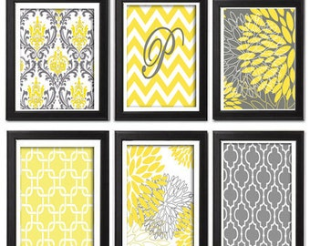 Floral Digital Print Wall Art Yellow Grey Vintage / Modern inspired Wall Art -Set of (6) Prints -   (UNFRAMED)