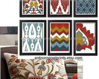 Ikat Digital illustration Wall Art - Set of 6 - 8x10 Prints - Featured in Red Blue  (UNFRAMED)