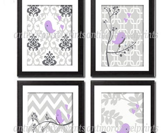 Nursery Digital Wall Art Purple Greys Bird Cage Art Modern Vintage Inspired Wall Art - (4) 8x10 prints - Unframed
