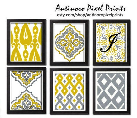 mur num rique art ikat moutarde jaune art mur blanc. Black Bedroom Furniture Sets. Home Design Ideas