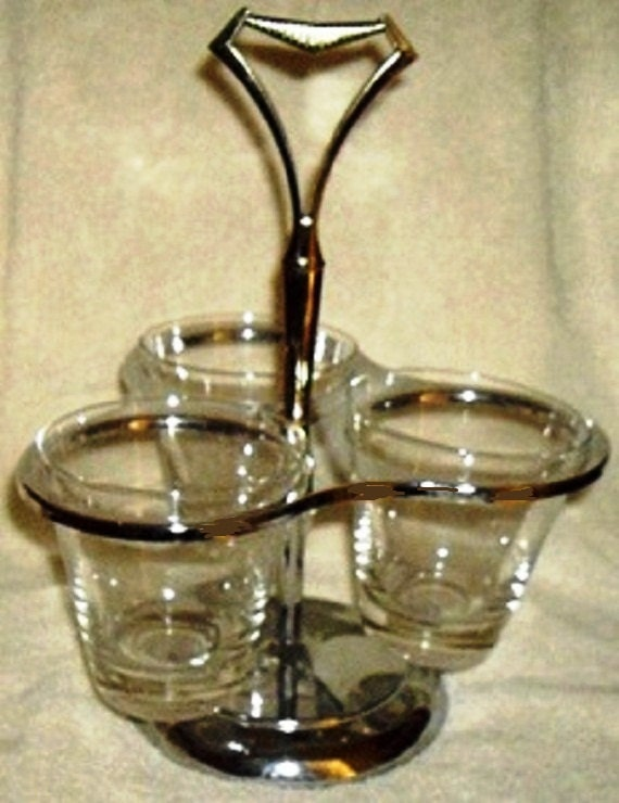 Vintage Kromex Condiment Server, Atomic Age Chrome with Glass Inserts for dips, condiments, snacks, sauces