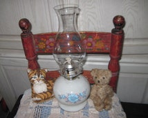 Vintage Pretty White Hurricane Blue and White Lamp with Blue Flowers