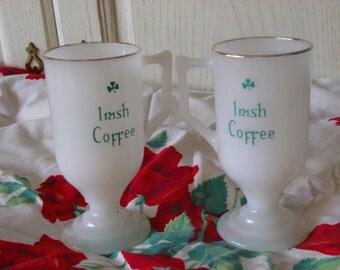 Irish Coffee Mugs Milk Glass :)S
