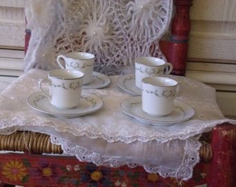 Sheffield Fine China  Small Set 4 tea Cups and Saucers 1960 s :)S