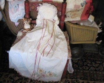 Vintage White Pillow Case Doll with Embroidered Flowers Sweet :)
