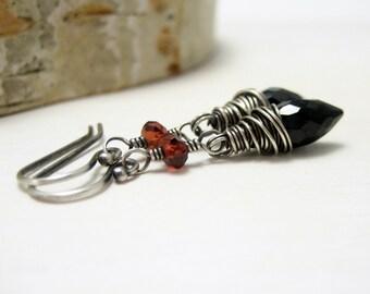 Black Spinel Earrings, Pyrope Garnet Oxidized Sterling Silver Jet Black Blood Red Dangle Earrings