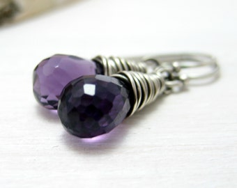 Amethyst Earrings, Oxidized Sterling Silver Wire Wrapped Dark Purple Amethyst February Birthstone Dangle Earrings
